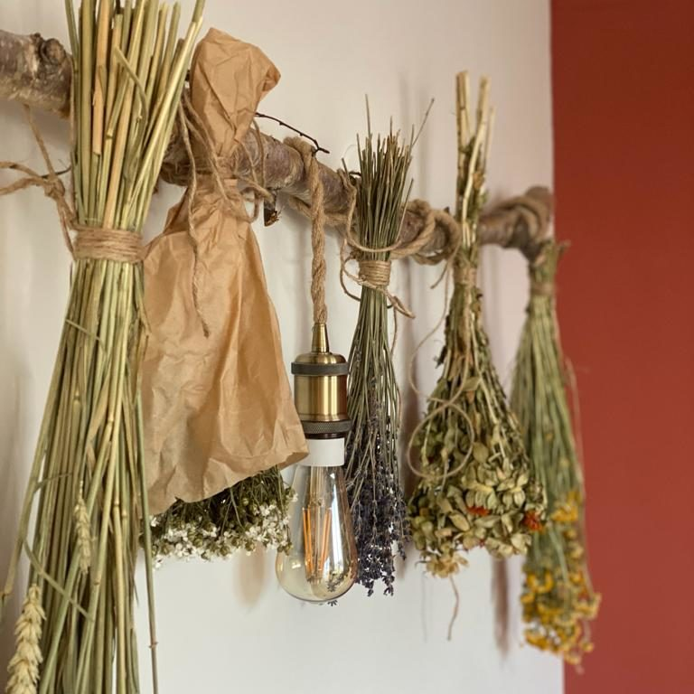 Applique et fleurs séchées sur une branche de bouleau au gite l'herboristerie béthunoise